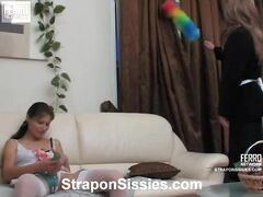 Tina and Nikola strapon sissysex action