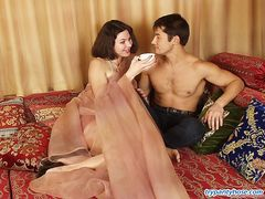 Lewd guy choosing sexy tights for himself and his girlfriend before hot sex