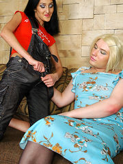 Dressed up sissy guy going for backdoor boogie with a strap-on armed babe