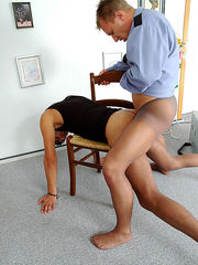 Lewd policeman in nylon tights forcing a guy into ass-ramming and pumping