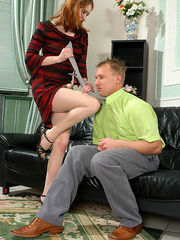 Frisky gal and sissy guy changing each other