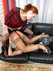 Awesome babe unveiling her strap-on starving for strap-on frenzy with sissy