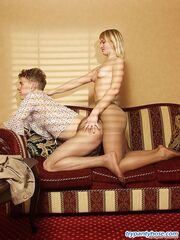 Kinky guy and his girlfriend taking the most from pantyhose fucking on sofa