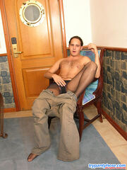 Steaming hot dude in black control top pantyhose having creamy rest-time